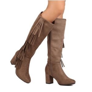 Faux Suede Knee High Fringe Chunky Heel Boot